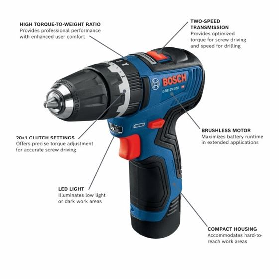 Bosch GSB12V-300B22 12V Max Brushless 3/8 In. Hammer Drill/Driver Kit with (2) 2.0 Ah Batteries