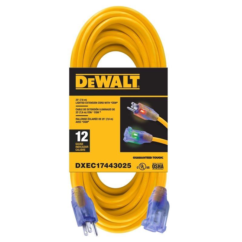 Extension Cord - 25ft 12/3 SJTW LIGHTED