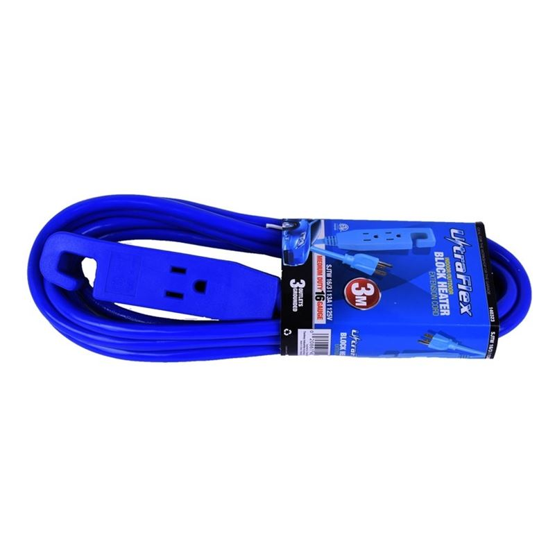 Extension Cord SJTW 16 / 3 3m 3-Outlet Block Heate