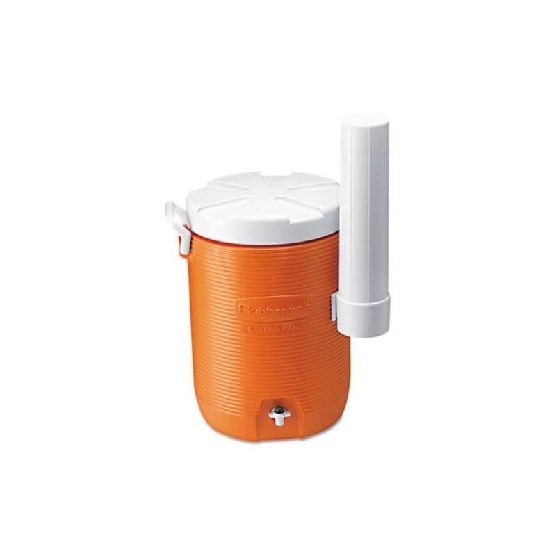 Rubbermaid 5Gal Orange Cooler W/Cup Dispenser