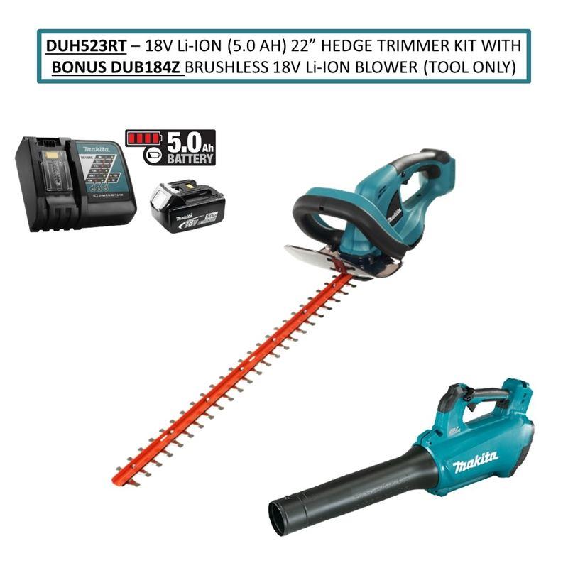 "DUH523RT 18V Li Ion (5.0 Ah) 22"" Hedge Trimmer Kit"